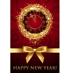 Happy New Year card with clock and ribbbon vector image vector image