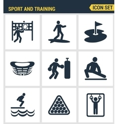 Icons set premium quality of outdoor sports vector image