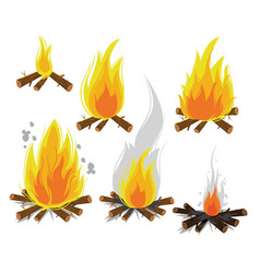 set of cartoon bonfires on white background vector image vector image