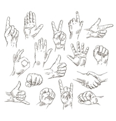 set of hands and gestures - outline vector image