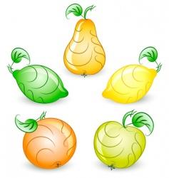 set of stylized fruits vector image