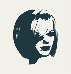 silhouette of a female head vector image