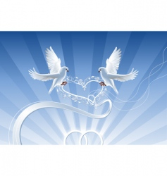 wedding composition with white doves vector image