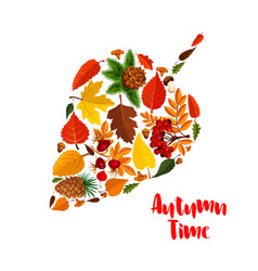 autumn leaf poster with fall foliage mushroom vector image vector image