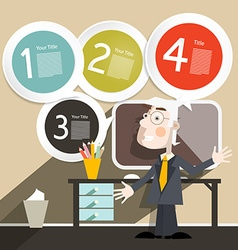 Businessman or Teacher with Computer and Four vector image