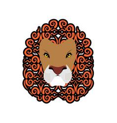 lion abstract emblem mane ornament leo tattoo vector image