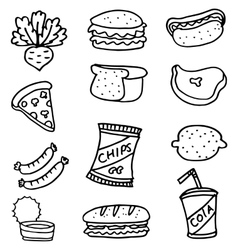 Doodle set food element collection vector image