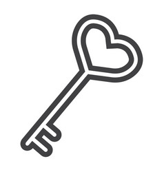 key with heart shape line icon valentines day vector image vector image