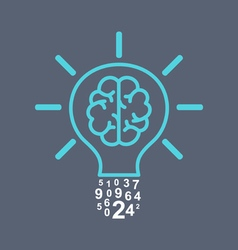 Light bulb brain vector image vector image