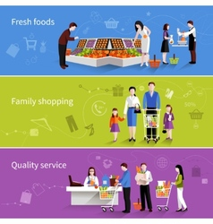Supermarket People Banners vector image
