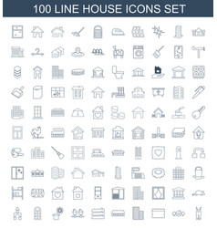 100 house icons vector image
