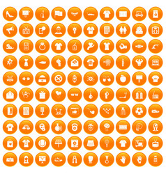100 t-shirt icons set orange vector