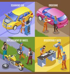 auto service concept icons set vector image