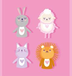 baby shower cute animals lion sheep rabbit vector image