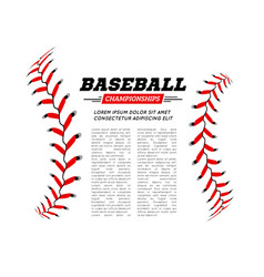 baseball ball text frame on white background vector image