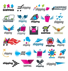 Biggest collection of logos of shipping vector