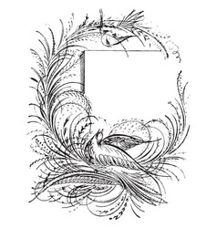 bird sleeping in this picture vintage engraving vector image