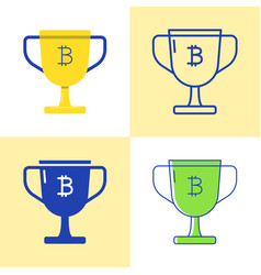 bitcoin block reward icon set in flat and line vector image