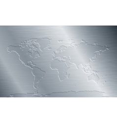 Brushed metal with world map vector