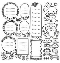 Bullet journal hand drawn elements vector