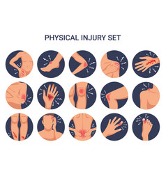 Burn cut injury flat set vector