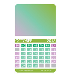 calendar grid october vector image