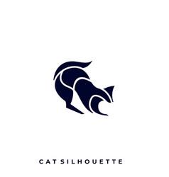 cat silhouette design template vector image