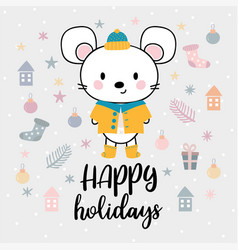 christmas card with cute little mouse funny vector image