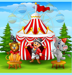 Circus elephant with lion a vector