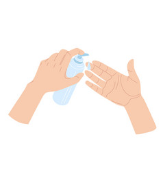 Close-up hands using hand sanitizer gel vector