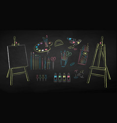 Collection art students supplies vector