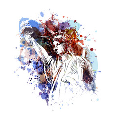 color of a statue of liberty vector image