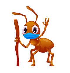 Colorful an ant in a face mask vector