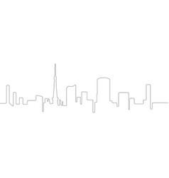 Continous line skyline of tokyo vector