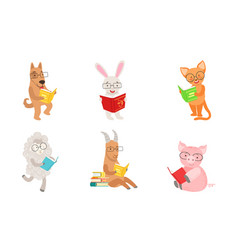 Cute humanized animals read books vector