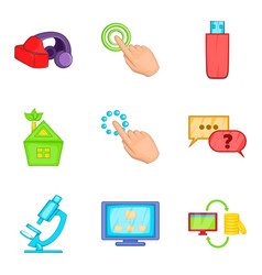Cyberspace icons set cartoon style vector