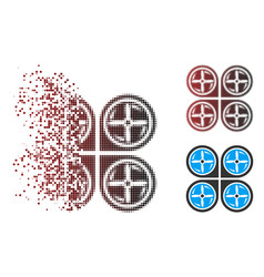 Dissolving pixel halftone nanocopter screws vector