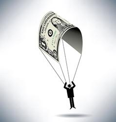 dollar Man Parachute vector image