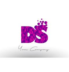 Ds d s dots letter logo with purple bubbles vector