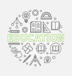 education round in thin line vector image