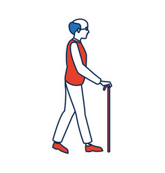 Elderly man walking with cane cartoon vector
