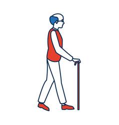 Elderly man walking with cane cartoon vector