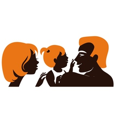 Family Silhouette of parents with baby vector image
