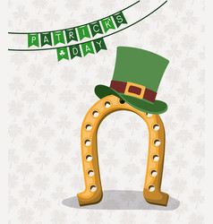 festoons patricks day of horseshoe with top hat vector image