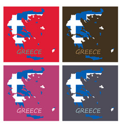 Flag map of greece vector