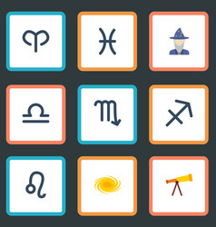 Flat icons zodiac sign optics ram and other vector