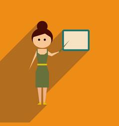 Flat web icon with long shadow woman teacher vector