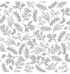 Floral seamless pattern with flowers plants vector