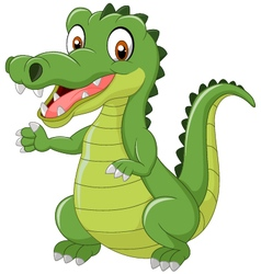 Funny crocodile standing and posing with hand wavi vector