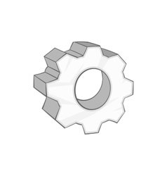 Gear icon in cartoon style vector image